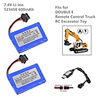 2 Pcs 523450 7.4V 600mAh SM4P Plug Lithium Battery with USB charging cable for DOUBLE E RC Truck Excavator Toy