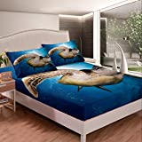 Sea Turtle - Juego de sábanas ajustables con estampado de reptiles en 3D, color azul océano marino con 2 fundas de almohada