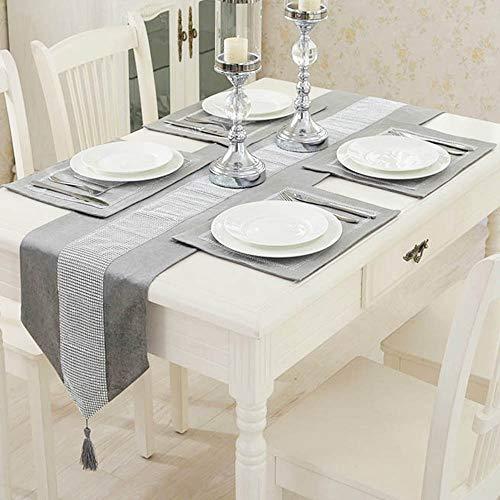 TtS 5 Stück Tischset Samt Tischläufer + Platz-Matten Tischmatte Diamanten Tischdecke Küche Party (Velvet-Silber)
