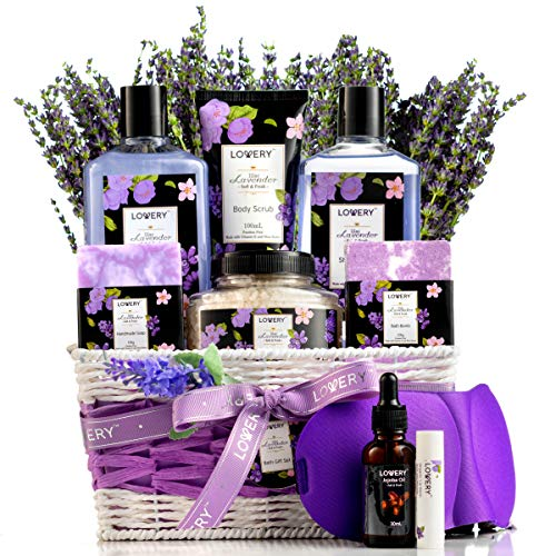 Lavender & Lilac Spa Gift Basket For Women & Men - Sleep Mask, Handmade Soap, Potpourri, Bath Bomb, Jojoba Oil, Organic Lip Balm & More - Aromatherapy Stress Relief Set, Bath & Body Self Care Package