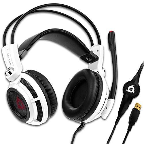 KLIM Puma Gaming Headset - USB 7.1 Kopfhörer - Integrierte Vibrationen - Mikrofon - Für PC Mac PS4 Laptop Games - Over Ear Gamer Headphones - Noise Cancelling Microphone [ Neue 2020 Version ] Weiß