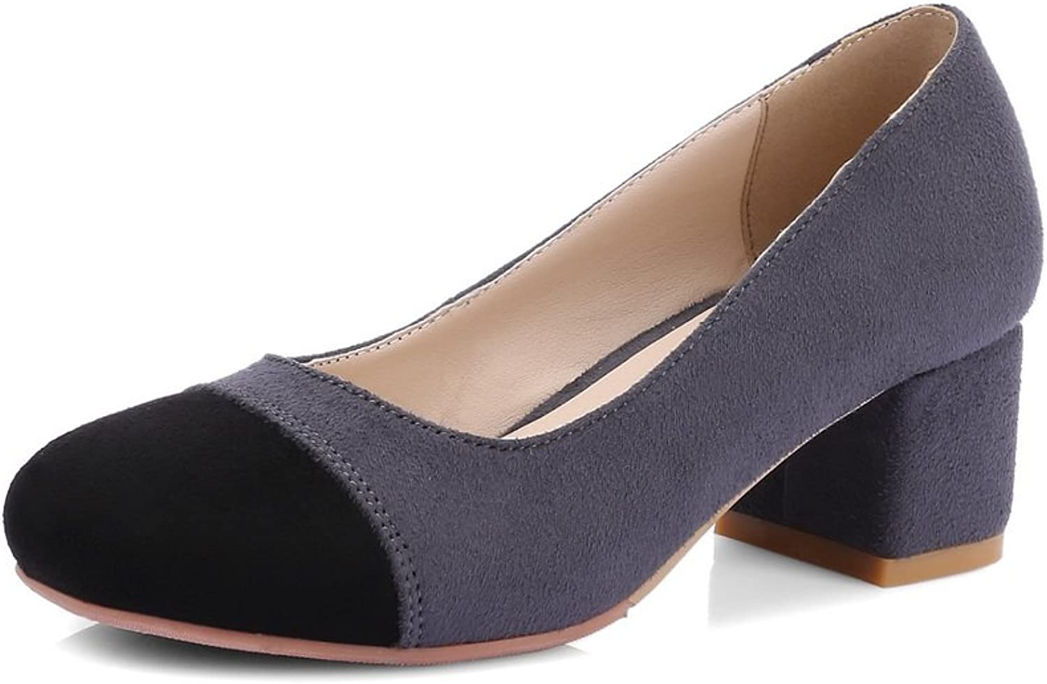 BalaMasa Ladies Chunky Heels Low-Cut Uppers No-Closure Suede Pumps shoes