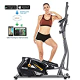 ANCHEER Elliptical Machine Elliptical Trainer Exercise Machine Magnetic Smooth Quiet Driven with LCD Monitor, Pulse and APP Control, Updated Top Elliptical Machine Trainer (Silver)
