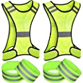 6 Pieces Reflective Vest Running Gear Set Include Adjustable Safety Night Running Visibility Vest and Wristband Armband for Men Women Runner Cycling Jogging Riding Working