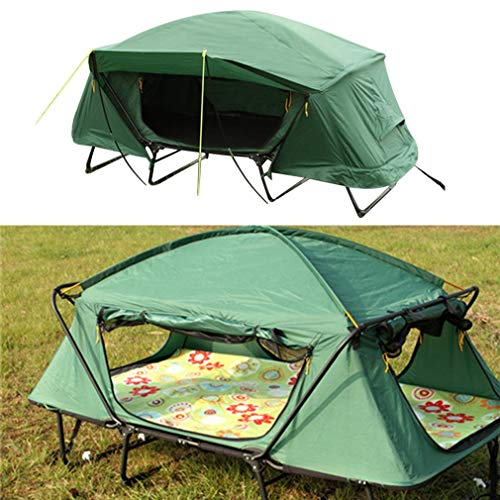 chengshiandebaihu Double Layers Two Person Off The Ground Camping Tent, Upgraded Sturdy Compact Folding Portable XL Adults Cots for Sleeping Outdoor Camping Hiking, Easy to Setup