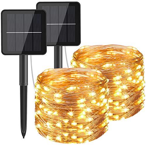 [2 Pacchi] Catena Luminosa Esterno Solare, Hepside 12m 120 LED Luci Solari Esterno 8 Modalità Impermeabile Filo di Rame Luci energia Solari Decorativa Per Giardino Patio Natale Festa, Bianco Caldo …