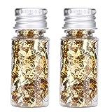 HERCHR Fiocchi di Foglie d'oro Commestibili Set 2 Bottiglie Cibo Fogli Decorativi in Carta Stagnola per Torta al Cioccolato Maschera Fai da Te