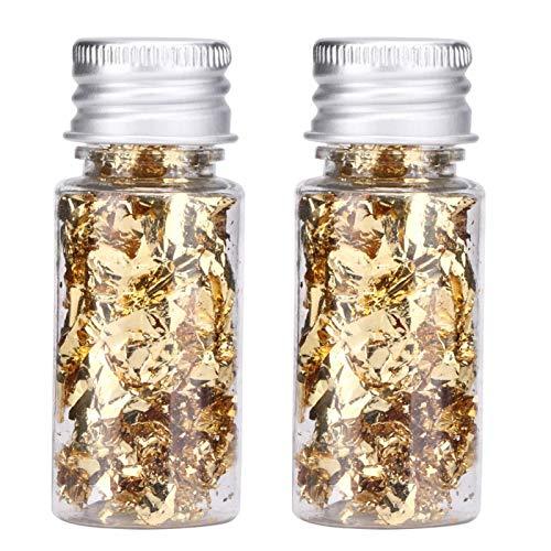 2 Botellas de Hojas de Pan de Oro Comestible Papel de Aluminio Decorativo multifunción para Pastel de Postre Chocolate embotellado