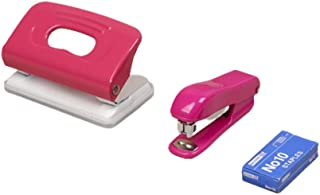 Stapler Set Staples Desktop 2-Hole Punch Easy Loading Stapler (Pink) TPPM58958