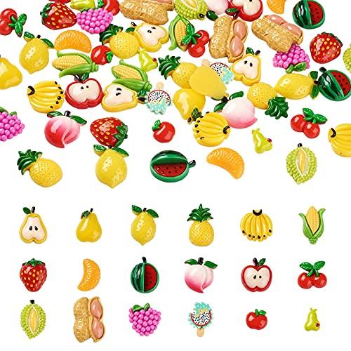 Fashewelry 72 piezas de resina de frutas cabujones 18 estilos mezclados de frutas y verduras adornos de resina abalorios de limo para manualidades DIY caja del teléfono marco de fotos decoraciones