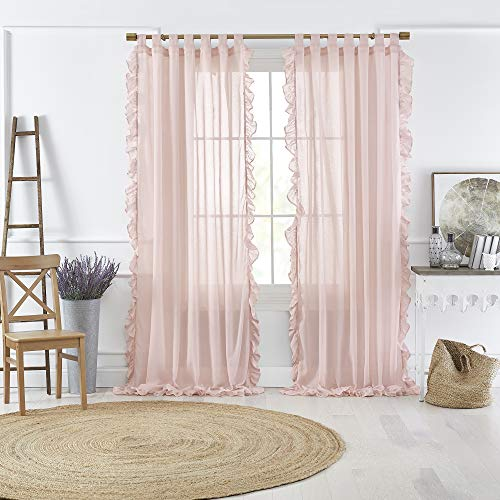 """Elrene Home Fashions Bella Tab-Top Ruffle Sheer Window Curtain Panel for Living, Dining Room, Bedroom, 52"""" x 95"""" (1, Pale Pink"""