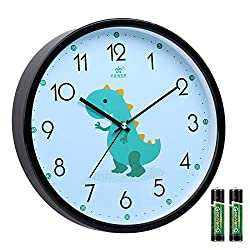 Tilted Kids Wall Clock Silent Non-Ticking, 11 Inch, Quartz Movement, Modern Analog Wall Clock Battery Operated for Toddler Girls and Boys' Room Dinosaur by Laigoo