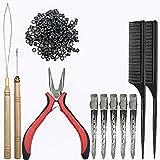 Sonku - Kit de extensión de pelo, kit de herramientas de 200 piezas, con forro de silicona negra, 2 peines y 5 pinzas de metal plateado para el pelo