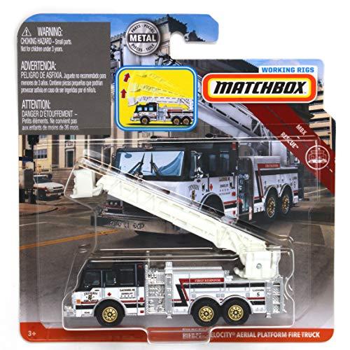 Matchbox Working Rigs Pierce Velocity Aerial Platform Fire Truck, White and Black