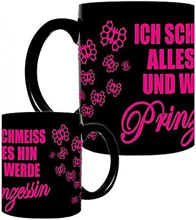 Preisvergleich für Kaffeetasse schwarz 0,3l große Tasse bedruckt mit Spruch Prinzessin PINK