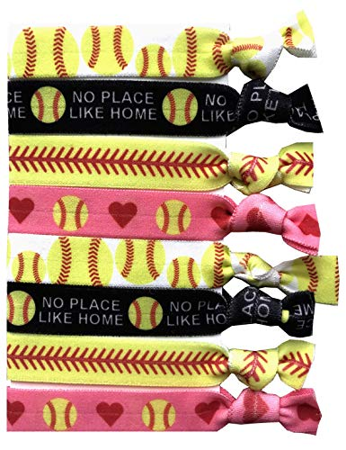 8 Piece Softball Gift Hair Elastic Set - Gifts and Accessories for Players, Women, Girls, Coaches, Teams, High School Softball Teams, Womens Leagues - MADE in the USA