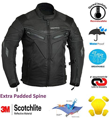 Rücken gepolstert Motorrad Jacke Wasserdicht Atmungsaktiv mit Protektoren – XL - 4