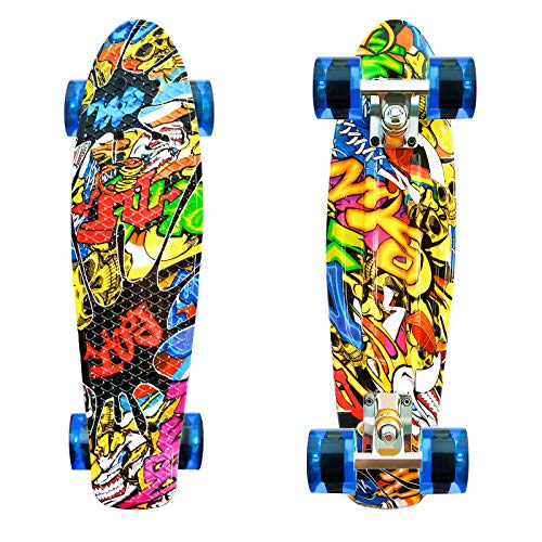 LISOPO Skateboard Monopatin 22''55cm, Mini Cruiser Retro Crucero 4 PU Ruedas Traslúcidas, Tabla de Plástico Reforzado, ABEC-7 Rodamiento para Principiantes, niños y Adultos, cumpleaños para ni