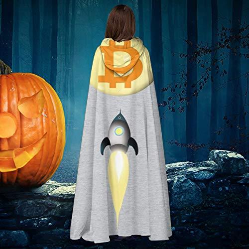 NULLYTG Bitcoin Blasting Off To The Moon - Capa de Disfraz de Bruja con Capucha para Halloween