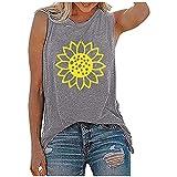 T-Shirt sans Manches décontracté à imprimé Floral pour Femmes Haut de t-Shirt de Mode d'été Hauts Ample D'été pour Femmes Chic Décontracté Lâche Tee Shirt Pas Cher a La Mode Débardeur sans Manches