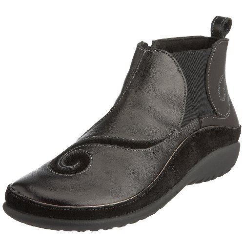 Naot Women's Chi Boot, Black Leather/Black Suede, 11-11.5
