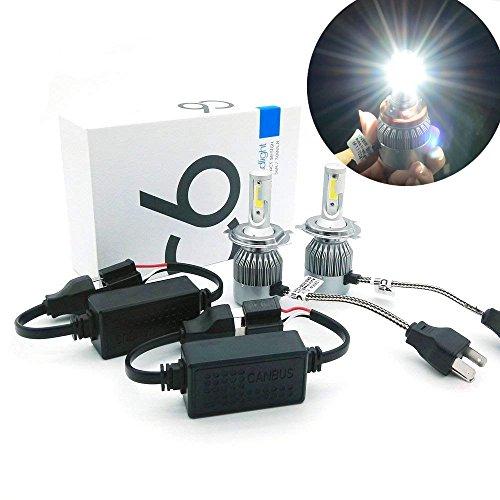 Heinmo Kit de phares de voiture Canbus LED 36 W 3800 lm COB avec ampoule LED pour phare antibrouillard et plug H1 H3 H4 H7 HB3 HB4 9005 9006 880 881 (H4)