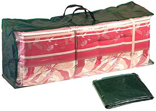Royal Gardineer Schutzhülle Sitzkissen: Gewebeplane-Tasche für Gartenmöbel-Sitzkissen, 130x50x32 cm, 150 g/m² (Gartenstuhl Sitzkissen Abdeckhaube)