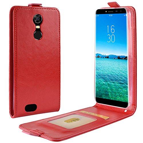 HualuBro Oukitel C8 Hülle, Premium PU Leder Leather HandyHülle Tasche Schutzhülle Flip Case Cover mit Karten Slot für Oukitel C8 Smartphone (Rot)