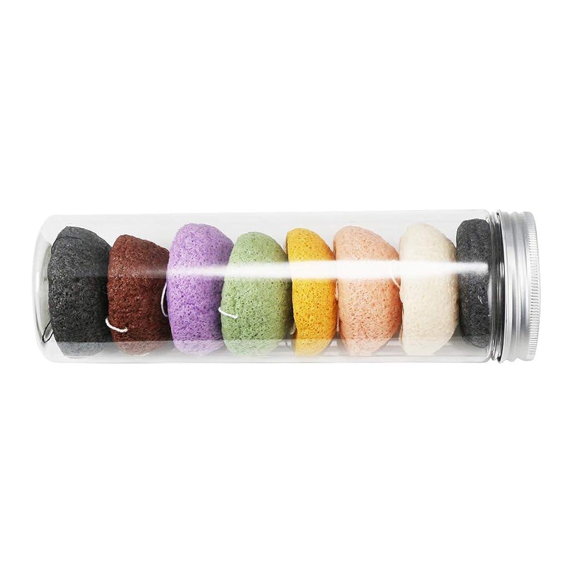 クラックポットプラスチック繊維P Prettyia 8個セット こんにゃくスポンジ 洗顔用 マッサージクリーニング 敏感肌対応 天然繊維 缶詰付き 多色