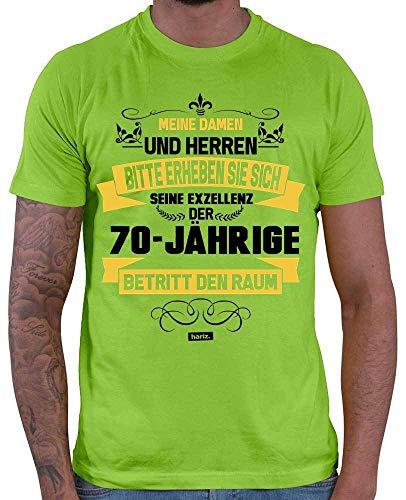 Hariz – Camiseta para hombre y mujer de los 70 años de edad, con tarjeta de regalo verde claro XL