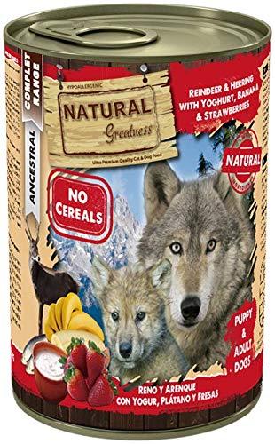 Natural Greatness Comida Húmeda para Perros de Reno y Arenque con Yogur, Banana y Fresas. Pack de 6 Unidades. 400 gr Cada Lata
