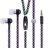 New Fashion Women Girl Rhinestone Jewelry Design Pearl Necklace Earphones,Super Bass HIFI Wired Earbuds Headphones with Mic Stereo Sound Music Earpiece for IOS and Android Smartphone (multicolor)