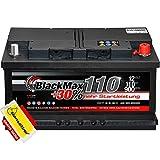 Autobatterie 12V 110Ah BlackMax 30% mehr Startkraft statt 88Ah 90Ah 95Ah 100Ah inklusive Polfett