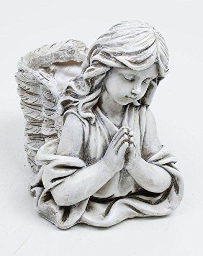 UDIG Engel mit Pflanzkorb, Polyresin, 21 cm, grau/Schutzengel Gebet Blumentopf