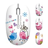 TENMOS M101 Wireless Mouse Cute Silent Computer Mice with USB Receiver, 2.4G Optical Wireless Travel Mouse 1600 DPI Compatible with Laptop, Notebook, PC, Computer (Bird)