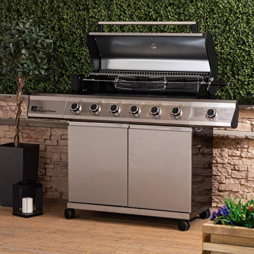 Fire Mountain Premier Plus 6 Burner Gas Barbecue - Premium Stainless Steel with Protective Cover