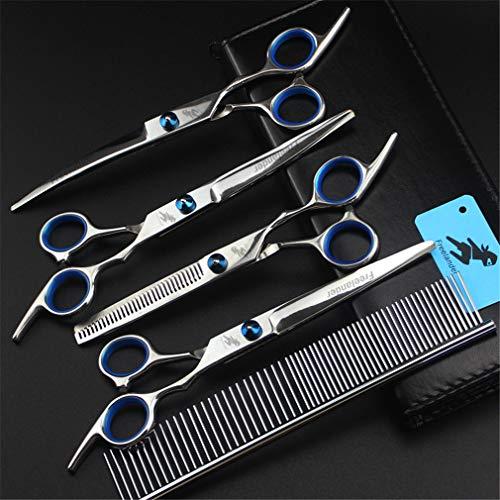 Professionelle Hundepflege Schere 7,0 Zoll Set, 4CR Stahl Premium-Straight & Ausdünnung & Curved Scissors High End 5Pcs Set für Hundepflege (blau) mit Tasche