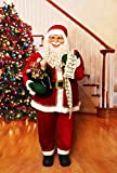 Fraser Hill Farm Red Life-Size Indoor Christmas Decoration, 5-Ft. Standing Santa Claus with Scroll, Wearing Velvet Suit w/White Fur Trim