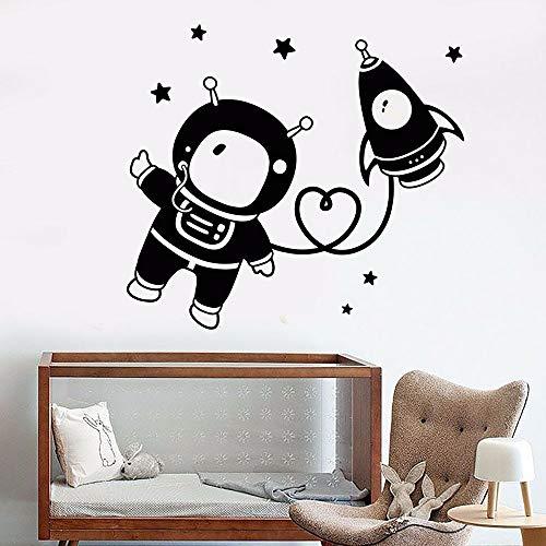 HFDHFH Divertida decoración de jardín de Infantes decoración de la habitación Pegatinas de Pared Lindo Astronauta Espacio Estrella Cohete calcomanía para el hogar Arte decoración de la Pared