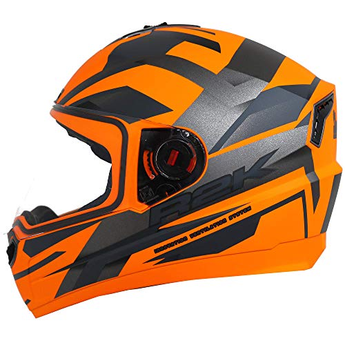 Steelbird SBA-1 R2K Full Face Graphics Helmet in Glossy Finish (Medium 580 MM, Glossy Fluo Orange Grey with Clear Visor)