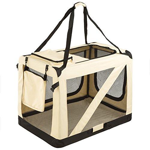 TecTake Cage Box de Transport pour Chien Chat Pliable Beige - diverses tailles au choix - (\