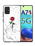 stilluxy a71 5g case Marble red Rose Cute Pattern Compatible with Samsung Galaxy a 71 Phone Cases (for 5g,not for 4g) Luxury Tempered Glass Back Cover 2020 New Version Ultra Thin 6.7 inch
