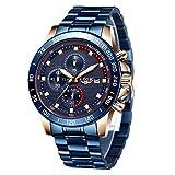 LIGE - Reloj de pulsera para hombre, elegante, deportivo, impermeable, analógico, cuarzo, acero inoxidable, cronógrafo militar, correa multifunción, color azul, azul total, Mediano