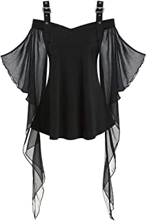 LOKODO Women Halloween Gothic Criss Cross Lace Insert Butterfly Sleeve T-Shirt Tops Cosplay Witch Costume