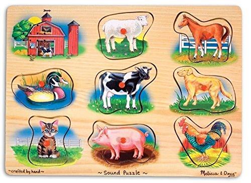 Melissa & Doug  Puzzle sonore animaux de la ferme  Bois   2+   Cadeau pour garçon ou fille