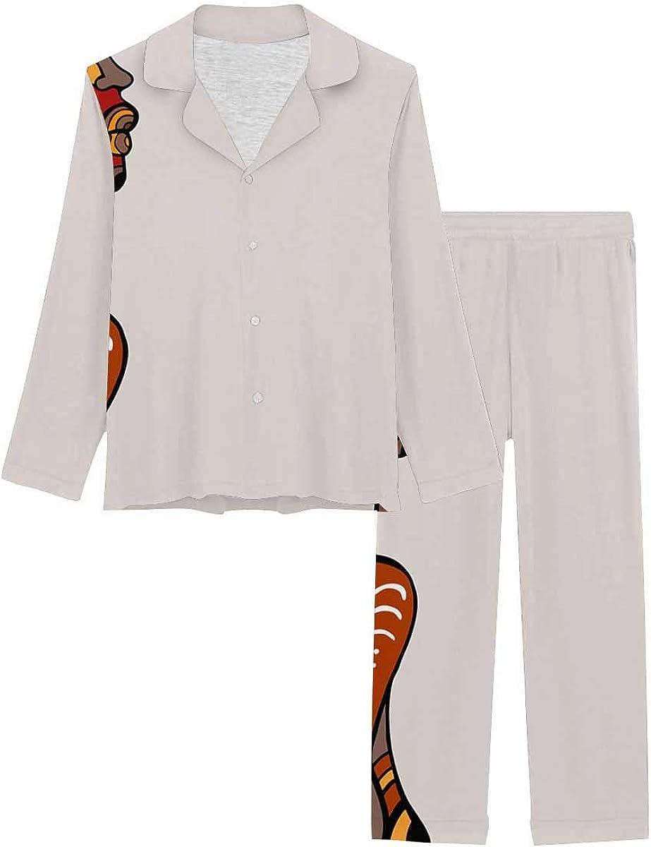 InterestPrint Women's Pajamas Set Button Down Sleepwear with Long Pants Beautiful African Woman,Ethnic