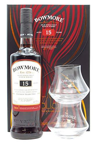 Bowmore 15 Años Whisky Escoces con 2 Vasos, 700ml