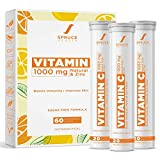 Spruce Health Vitamin C with Zinc 1000mg Effervescent Tablet | Immunity Booster with Natural Amla & Zinc | Vegan Collagen Builder | Natural Anti Oxidant Vitamin C Supplement | 60 Effervescent Tablets hair pills Oct, 2020