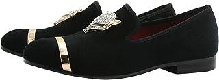 Chaussures Velours Hommes, Métalliques Texturés Slip-on Casual Soirée Mocassins Pantoufle Loafers Noir Volet Bleu