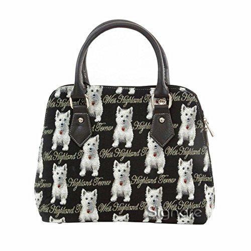 Mittelgroße Handtasche/-Schultertasche für Damen (Westland terrier) – im Gobelin Stil